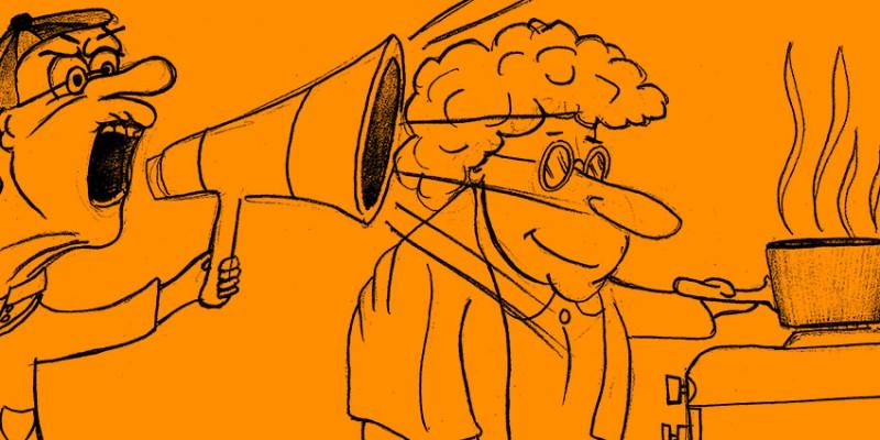 Witz des Tages: Mann glaubt, seine Frau sei schwerhörig.