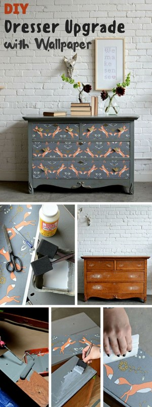 so wertest du alte m bel mit tapetenresten auf. Black Bedroom Furniture Sets. Home Design Ideas