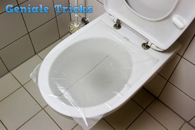 trick aus asien toilettenverstopfung mit folie und. Black Bedroom Furniture Sets. Home Design Ideas