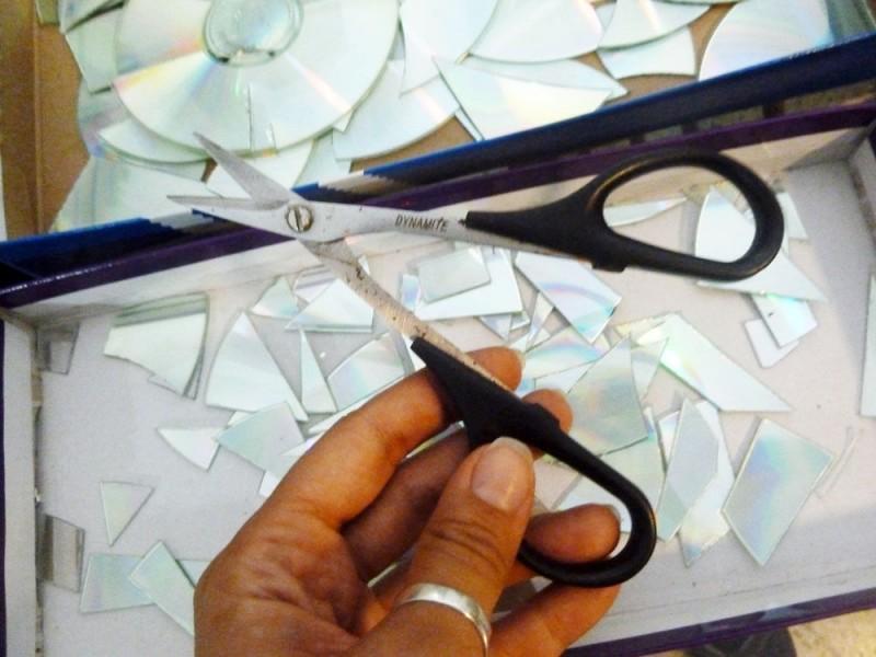 Kreativ Cds Recyceln Parchen Baut Fliesenspiegel Fur Die Kuche
