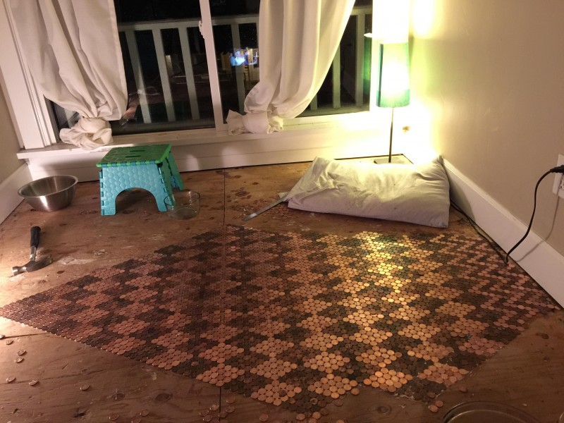 Fußboden Cent Stücke ~ Edler fußboden aus säcken kleingeld