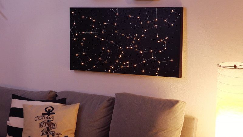 Personliches Diy Geschenk Leuchtendes Wandbild Vom Sternenhimmel