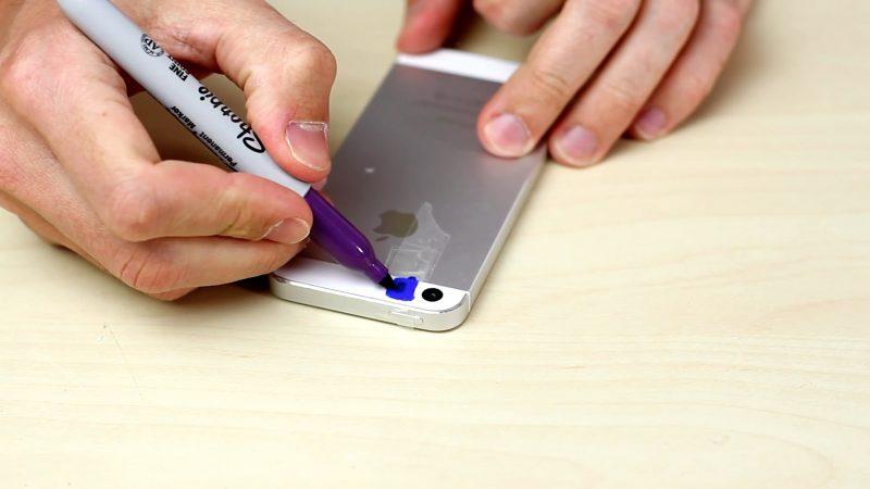 astuce téléphone : pour faire lumière noire avec marqueur bleu